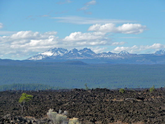 Mt Bachelor and the Sisters from Lava Butte Lava Flow