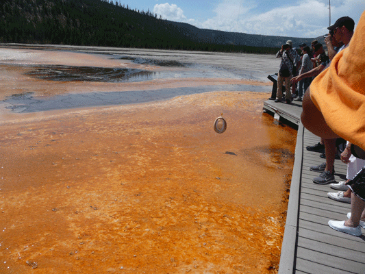 Fishing for hats Grand Prismatic Spring Yelowstone