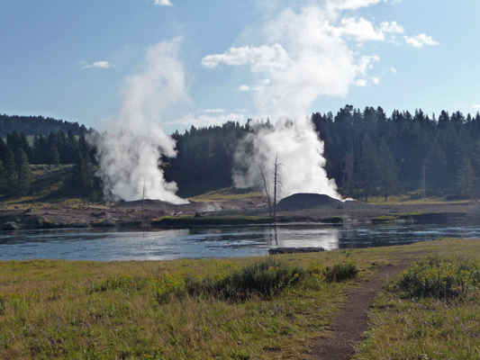 Geyser across Yellowstone River