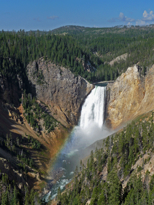 Lower Yellowstone Falls with rainbow