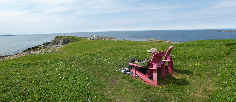 Red chair view Steve's Trail Gros Morne
