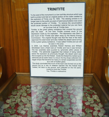 Trinitite display White Sands Missile Museum