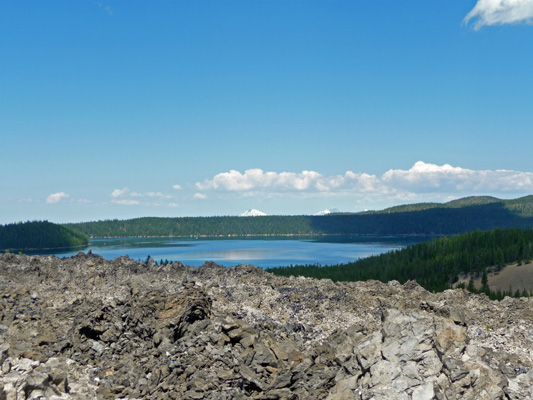 Paulina Lake from top of Big Obsidian Flow