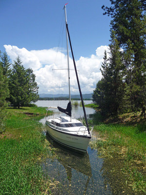 Sailboat moored near Buttercup campground Lake Cascade SP