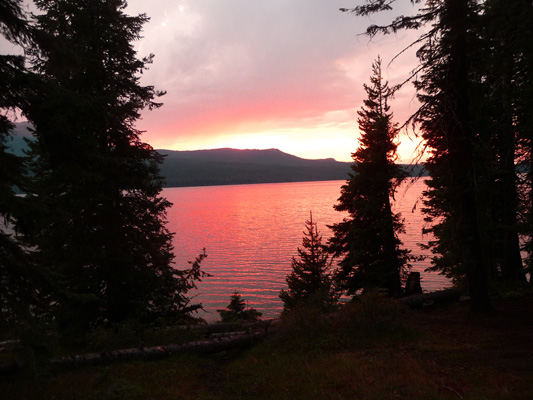 Sunset at Rock Creek Campground Crane Prairie Reservoir