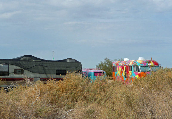 Colorful buses at Slab City CA